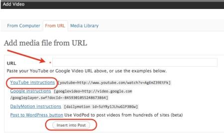 wordpress insert video window